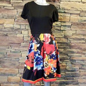 Gabby Skye Floral Pleated Dress sz 12